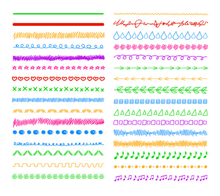 Vector Colorful Doodle Divider Lines, Borders Set Isolated on White Background.