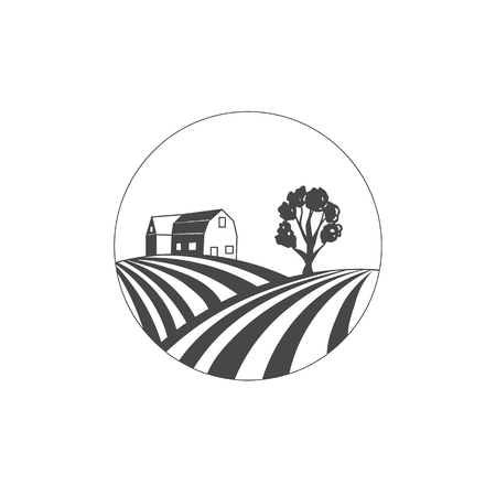 Vector Farm House, Farmers Market, Field Logo, Circle Stamp, Plantilla de diseño sobre fondo blanco.