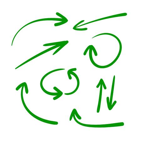 Vector conjunto de flechas dibujadas a mano, flechas verdes aisladas sobre fondo blanco, señales direccionales.