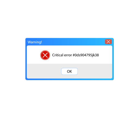 Vector Error Message, Warning Pop-up Window, Vintage User Interface, Isolated on White Background Frame.