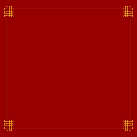 Vector Chinese Style Corners, Frame Template, Blank Golden Border. Dark Red Background.