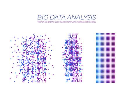 Vector Big data Analysis Illustration: Information Analytics for Smart Business Plan, Minimalistic Design Infographics. Vektoros illusztráció