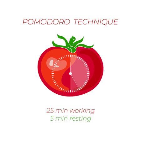Ilustracja wektorowa techniki Pomodoro, koncepcja zarządzania czasem, tarcza zegara na pomidora na białym tle.