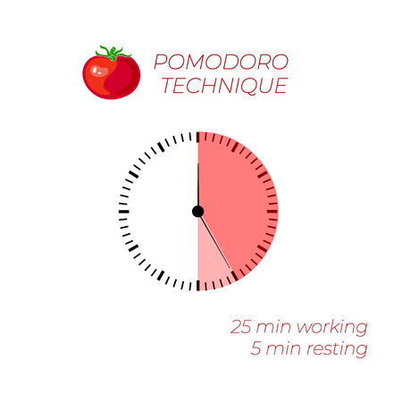 Vector Illustration: Technique Pomodoro, Time Management, Watch Face, Infographic on White Background.