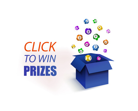 Vector Illustration, Click to Win Prizes, Blue Open Box and Lottery Balls Explosion. Promo Banner.