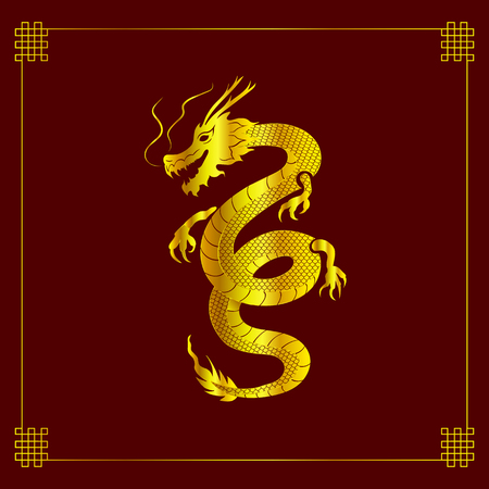 Vector Dragon Art, Mythology Animal, Chinese Style Vintage Background with Decorative Corners, Golden Dragon on Dark Red Background.