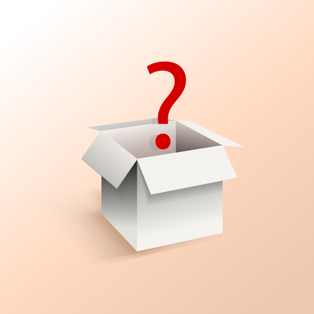 Vector White Box with Red Question Mark, Illustration Template, Surprise Box on Light Peach Color Background.