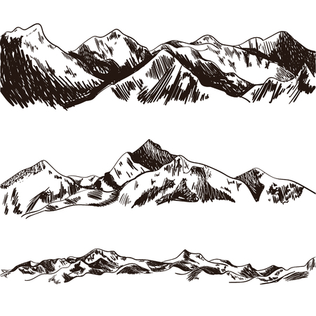 Vector Mountains Sketch, Hand Drawn Illustration, Engraved Hills on White Baackground Illustration