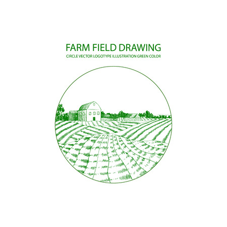 Vector Farm Logo Template, Circle Shape, Farm Field Drawing Isolated on White Background.