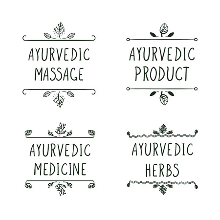 Vector Ayurvedic Icons Set Isolated on White Background: Ayurveda Massage, Product, Medicine, Herbs. Black Lines.