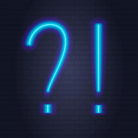Vector Neon Question and Exclamation Points, Blue Light. Illusztráció