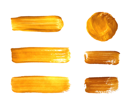 Vector Set of Gold Paint Smears, Golden Brush Strokes Isolated on White Background.