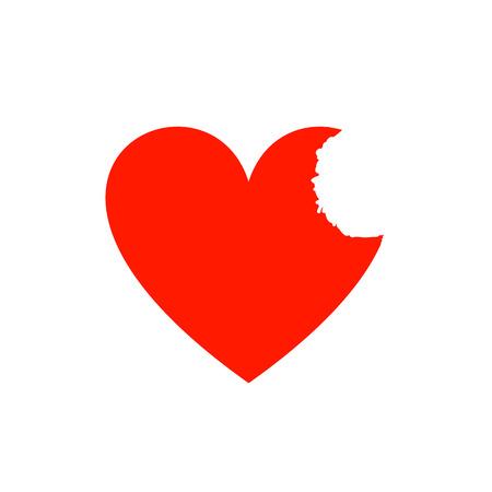 Vector Bite Heart, Red Color, Background Illustration. Illustration