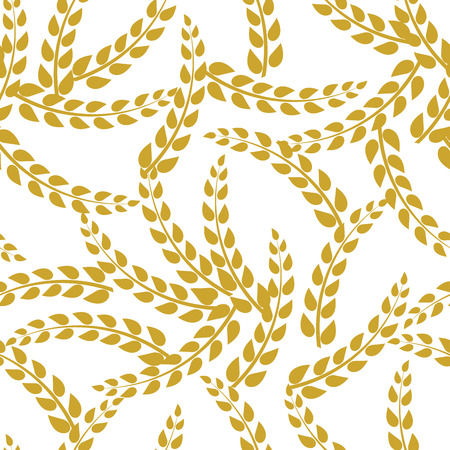 Vector Seamless Pattern: Golden Rye Plant Twigs on White Background, Bakery Background. Laurel Leaves.
