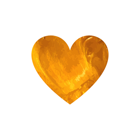 Vector Golden Heart Painting Isolated on White Background, Romantic Illustration.