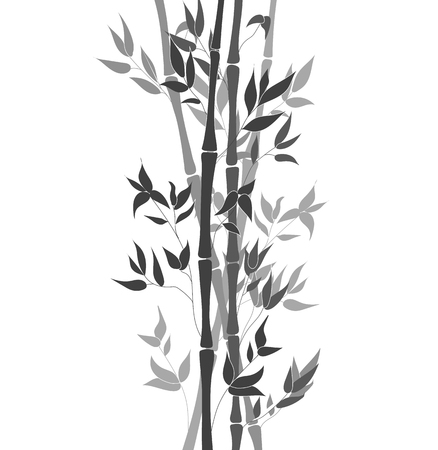 Vector Bamboo Stem Leaves, Black and White Ilustration, Decorative Element Isolated on White Background.