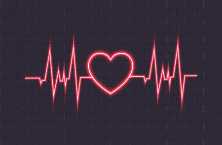 Vector Neon Heartbeat Illustration, Glowing Lines, Brick Wall Background. Illustration