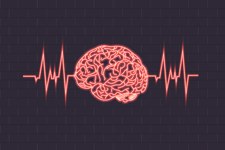 Vector Human Brain and Pulse Wave, Neon Shining Illustration, Red Glowing Neon Lines.