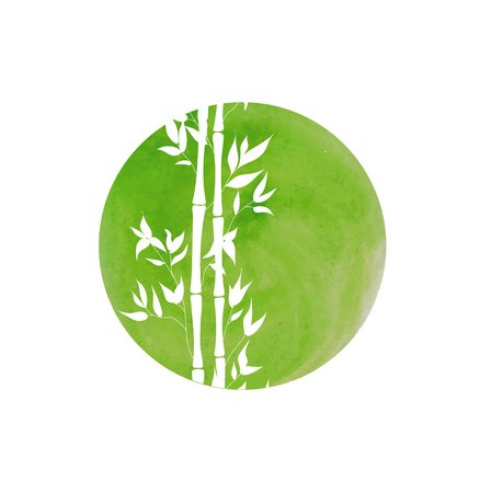 Vector Hand Drawn Watercolor Circle and Bamboo Stalks, Isolated on White Background Illustration. Иллюстрация