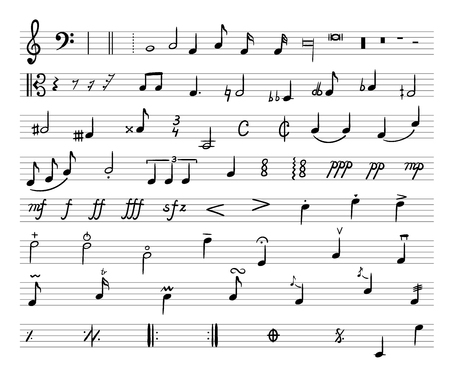 Vector Music Notes, Drawn Illustration, Musical Staff and Different Musical Symbols on White Background.