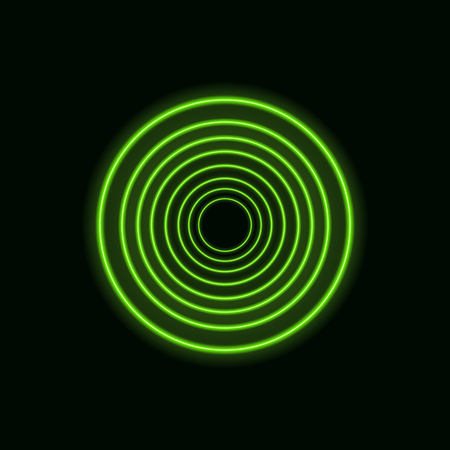 Vector Green Neon Circles, Blank Round Glowing Shapes on Dark Background.