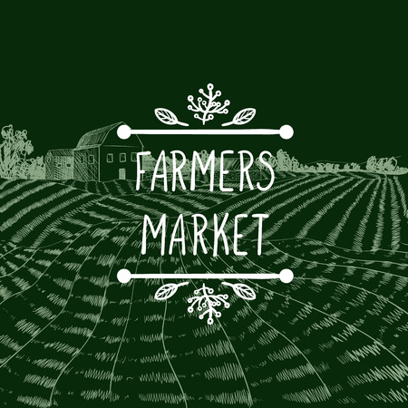 Vector Icon: Farmers Market, Farm Field Chalk Drawing Background and Lettering in Doodle Natural Frame.