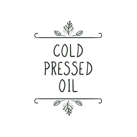 Vector Icon: Cold Pressed Oil, Black and White Illustration. Illustration