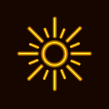 Vector Neon Sun Icon, Shining Yellow Sun on Dark Background.
