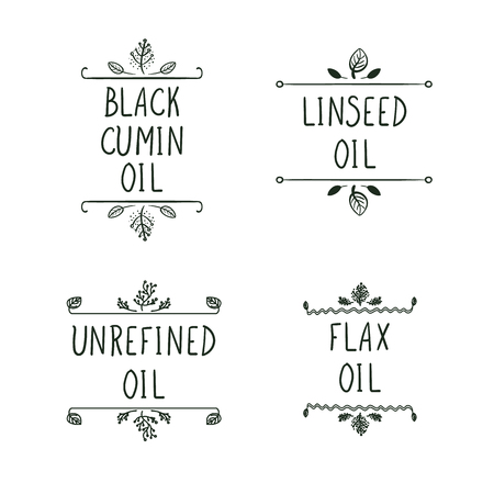 Vector Collection of Oil Tags, Cold Pressed Unrefined Different Oil, Isolated on White Background.