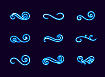 Vector Collection of Blue Neon Swirly Lines, Divider Lines, Glowing Filigree on Dark Background.