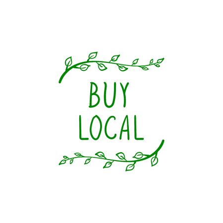 Vector Doodle BUY LOCAL Label Template on White Background. Ilustrace