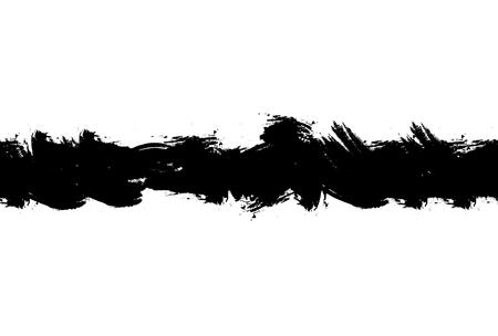 白い背景、ペイントスミアに隔離されたシームレスな黒インクブラシストローク。