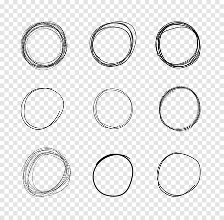 Vector Hand Drawn Circles, Scribble Lines Drawings on Isolated Transparent Background. Illustration