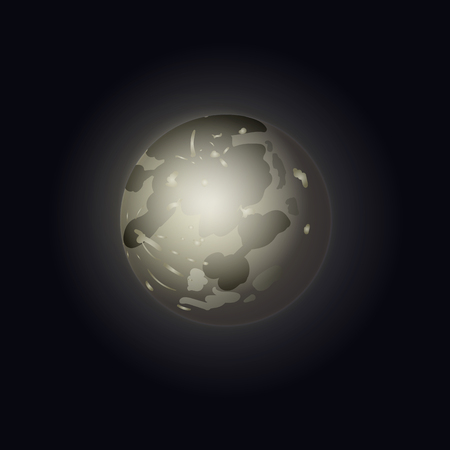Vector Full Moon Shining on Dark Sky, Glowing Illustration Template, Moonlight Night.