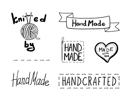 Vector Set of Handmade Elements, Design, Hand Drawn Illustrations Collection Isolated on White Background.