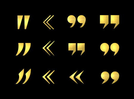 Vector Golden Shining Metalic Texture Quote Marks Set, Isolated on Black Background Decorative Elements.