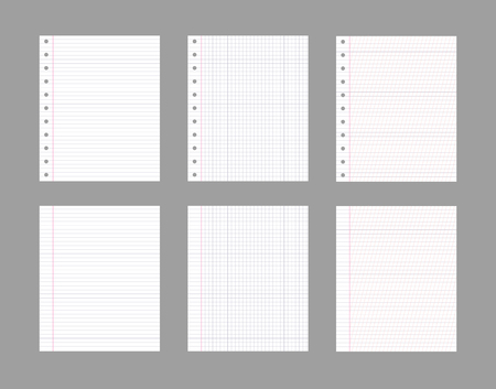 Vector Note Paper Sheets, Office Supplies, Isolated Notepad Pages on Gray Background.