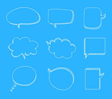 Vector Set of Hand Drawn 3D Talk Bubbles, White Chalk Drawings on Light Blue Background, Education Concept.