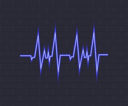 Vector Neon Blue Pulse, Glowing Icon on Dark Brick Wall Background, Heartbeat Illustration.