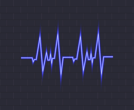Vector Neon Blue Pulse, Glowing Icon on Dark Brick Wall Background, Heartbeat Illustration.