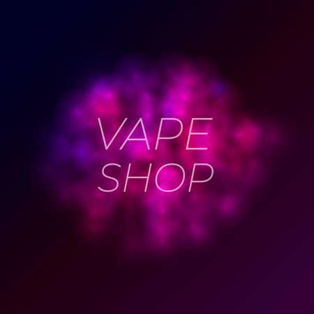 Vector Illustration: Vape Shop Banner, Colorful Smoke Cloud Glowing on Dark Background, Colored Backdrop. Ilustração