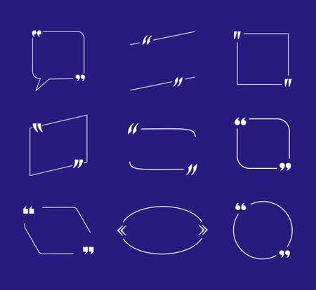 Vector Set offertevakken, witte lege Frames op blauwe achtergrond, zakelijke presentatie ontwerpelementen.