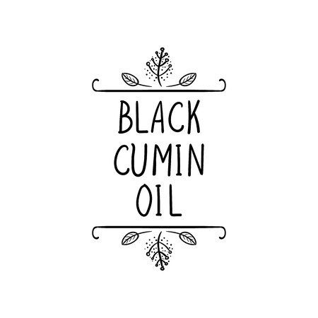 Vector, Black Cumin Oil Icon, Natural Frame, Black Doodle Drawing and Words, Packaging Label Template, Black Lines Isolated on White Background. Reklamní fotografie - 104723366