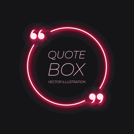 Vector Shiny Quote Frame Template, Red Glowing Lines, Abstract Lights on Dark Background, Red Color. Illustration