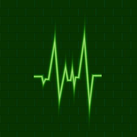 Vector Shining Green Puls, Medical Cardio Symbol, Neon Icon on Dark Background, Cardio Energy.