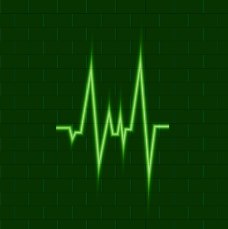 Vector Shining Green Puls, Medical Cardio Symbol, Neon Icon on Dark Background, Cardio Energy.