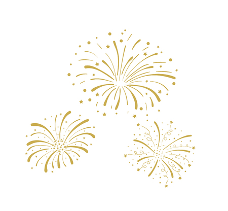 Vector Golden Doodle Fireworks Isolated on White Background, Celebration, Party Icon, Anniversary, New Year Eve.  イラスト・ベクター素材