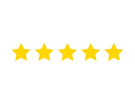 Vector vijf sterren teken, geïsoleerd op een witte achtergrond afbeelding, plat ontwerpelement. Vector Illustratie