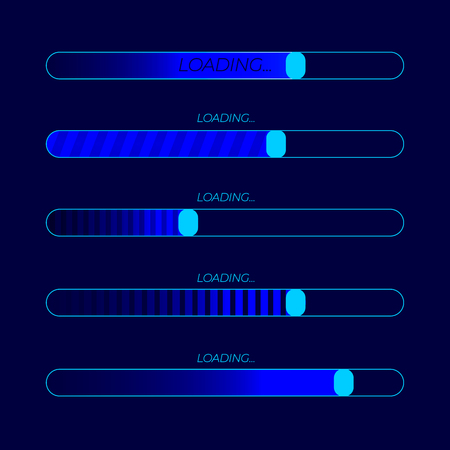 Loading Bar Futuristic Illustrations, Icons Set, Web Neon Element on Dark Blue Background.