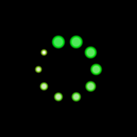 Vector Green Loader Icon, Neon Light Bright Color, Circle Shape Glowing on Black Background. Illustration